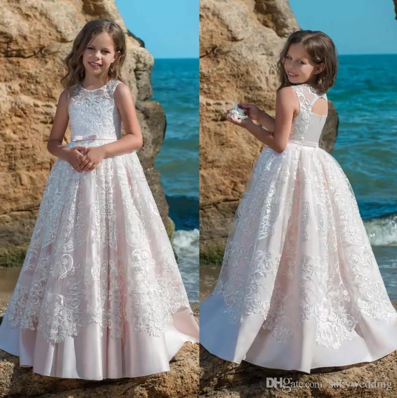 9d803a3d2 New Lace Flower Girl Dresses For Wedding Sheer Jewel Neck Light Pink ...