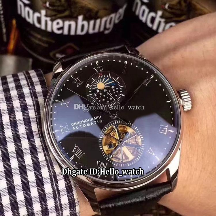 2018 New Model Portugieser Black Dial Automatic Moon Phase Tourbillon Mens  Watch Silver Case Leather Strap High Quality Gents Watches