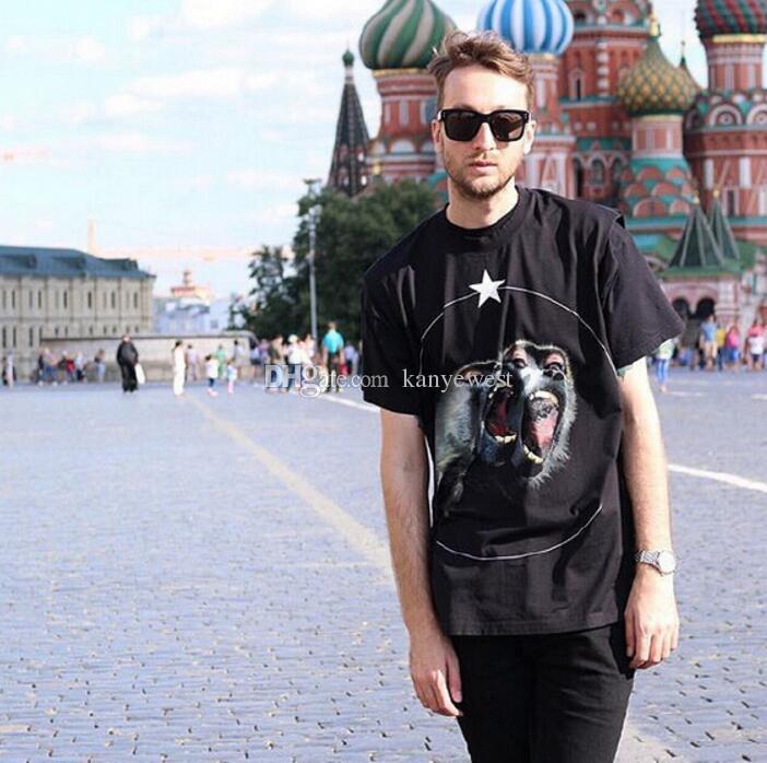 2019 yeni yaz erkekler Tasarımcı Marka t shirt giyim kısa kollu t-shirt Roar orangutan maymun daire yıldız tişört unsex tee pamuk tops