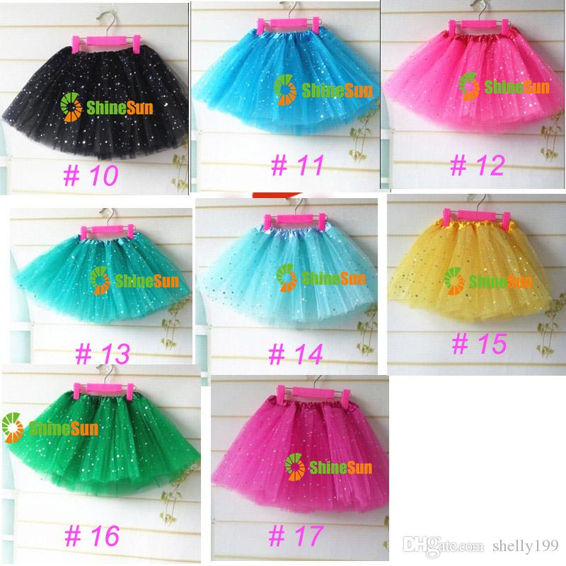 Baby Girls Fluffy Mini Skirt Girl's 3 Layers Sequin Ballet Skirt With Sparkling Stars Dress-up Tutu Kids Girls Tutus Pettiskirt