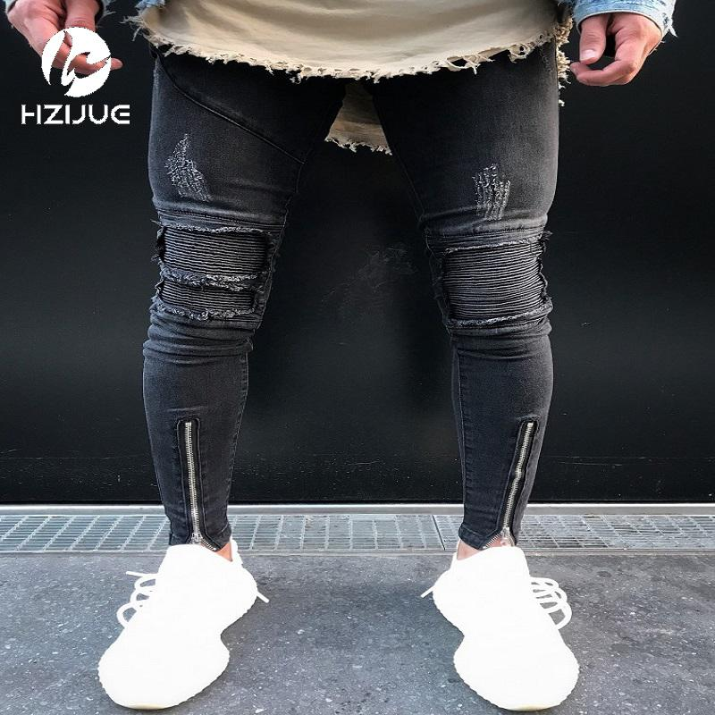 f37c640c036 2019 Skinny Jeans Men Black Classic Hip Hop Stretch Jeans Hombre Slim Fit  Fashion Famous Brand Biker Style Tight Male Big Size From Manxinxin, ...