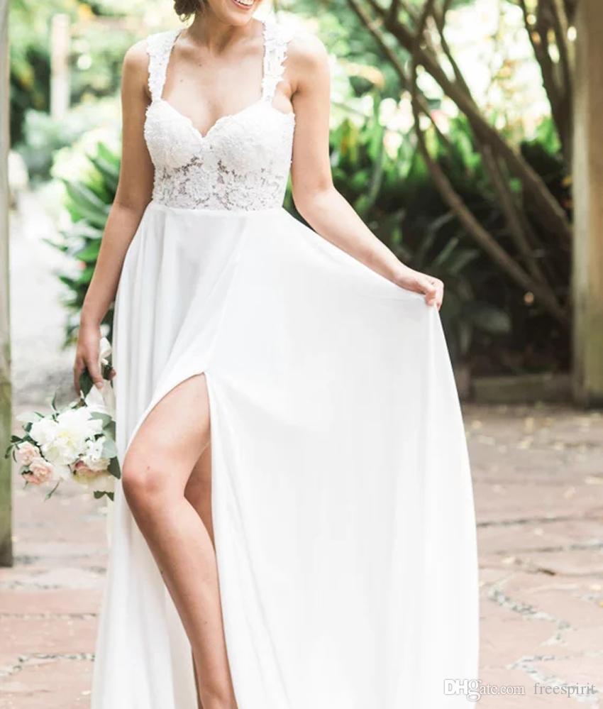 Discount Beach Wedding Dress With Slit Sweetheart Empire