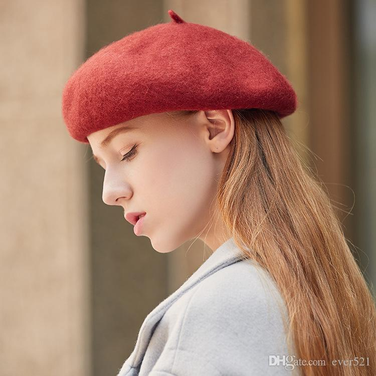 2019 2018 New Hot Red  Pink Woolen Hat Thickening Beret Ladies Autumn  Winter Hat Elegant Soft Caps Solid Color Women Hair Accessories From  Ever521 1ec2d2c3cd4