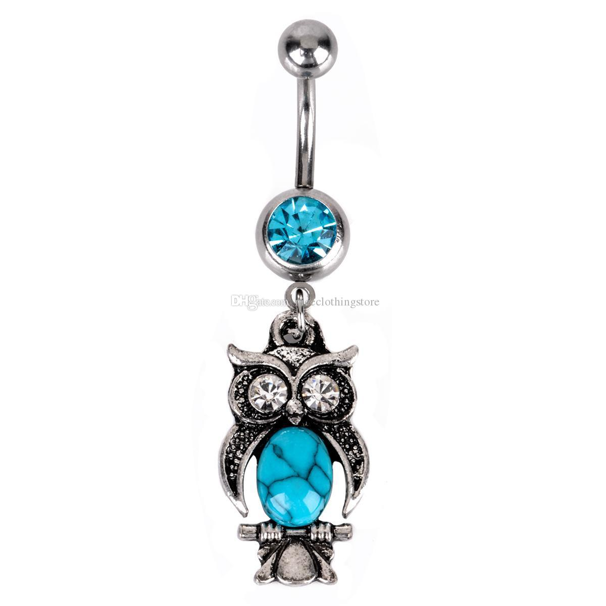 Hamsa Hand Owl Anchor Blue Navel ombelico anelli Bar Piercing 14G Sexy Body in acciaio inossidabile Piercing all'ombelico