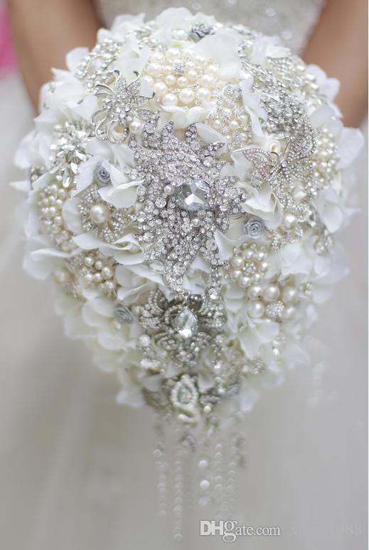 White Hydrangea Drop Brooch Bouquet Silver Wedding Bouquets Crystal