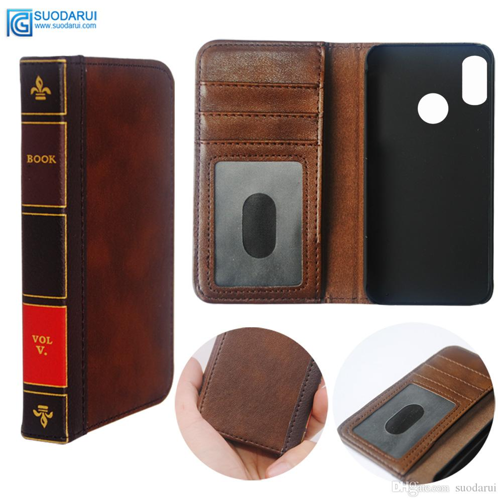 factory price e0191 91360 Flip Leather cell Phone Case for Xiaomi Mi A2 Lite Cover Wallet Retro Bible  Vintage Book Business Pouch