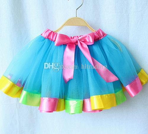 Nouveau-né infantile tutu jupes mode arc-en-filet fil bébé filles jupe costume d'Halloween costume 7 couleurs enfants jupe en dentelle Bow jupe seulement C3785
