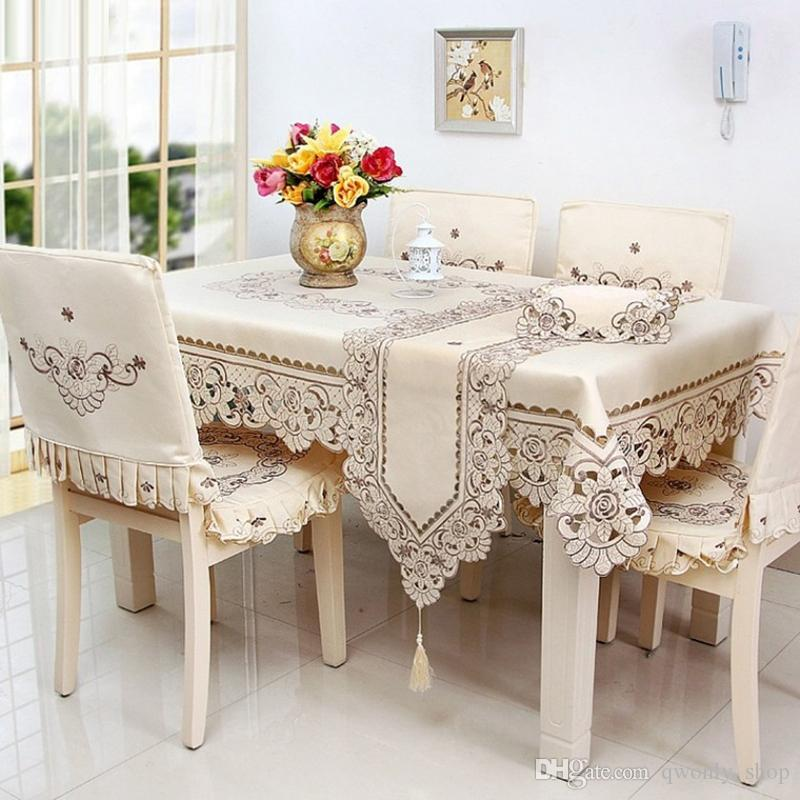 Europe Polyester Satin Jacquard Embroidery Flower Floral Tablecloth