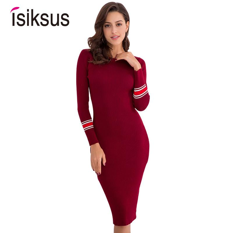 88742be2148b1 Isiksus 2018 Knitted Striped Sweater Long Autumn Winter Women Dress Bodycon  Slim Midi Vestidos Casual Dresses for Girls DR103