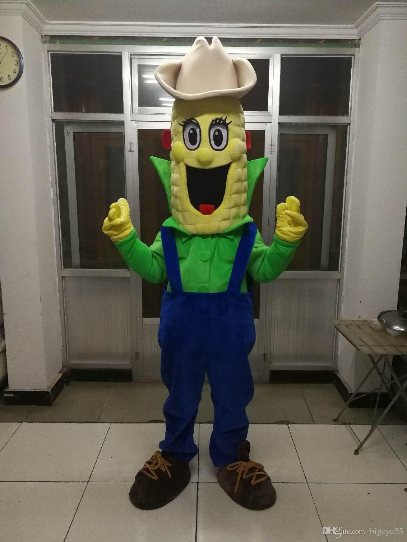 Yüksek kaliteli Gerçek Resimler Deluxe mısır maskot kostüm Yetişkin Boyutu ücretsiz kargo