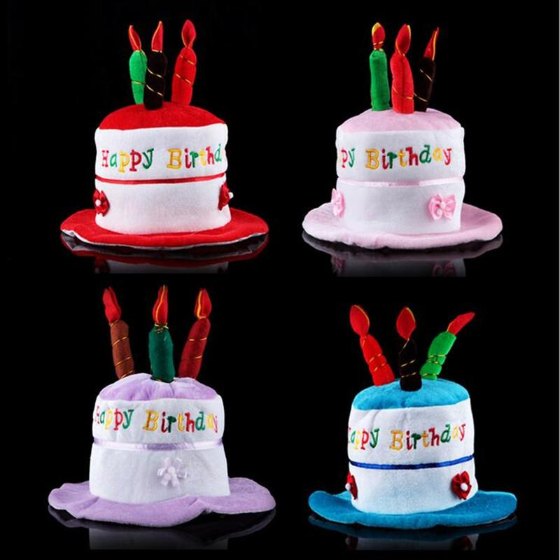 New Cute Birthday Cake Hat Kids Adults Candle Cap Boys Girls Head Hoop Hats Party Christmas Red From