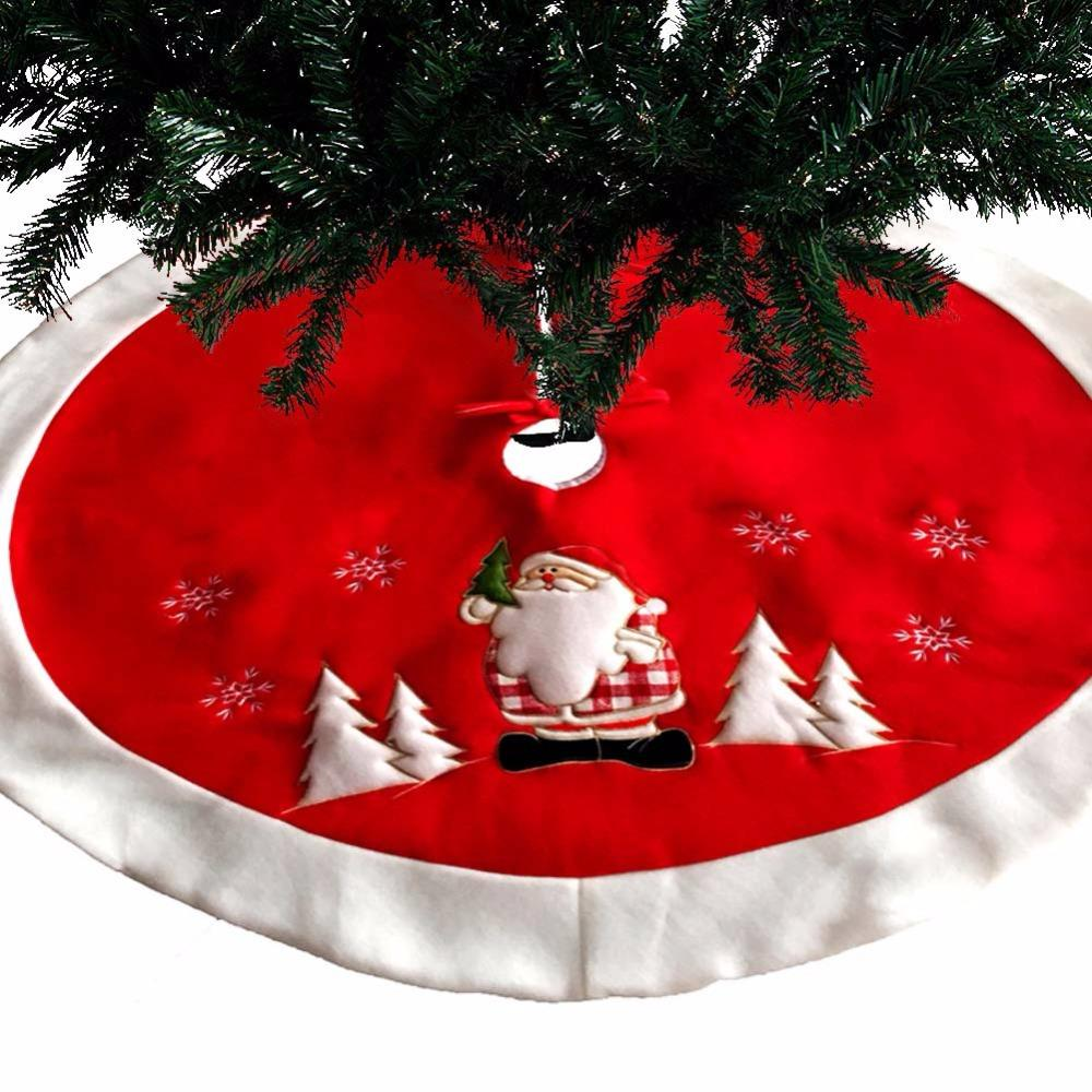 45 100cm red christmas tree skirt carpet party ornaments christmas decoration for home non woven xmas tree skirt aprons indoor christmas decorations large