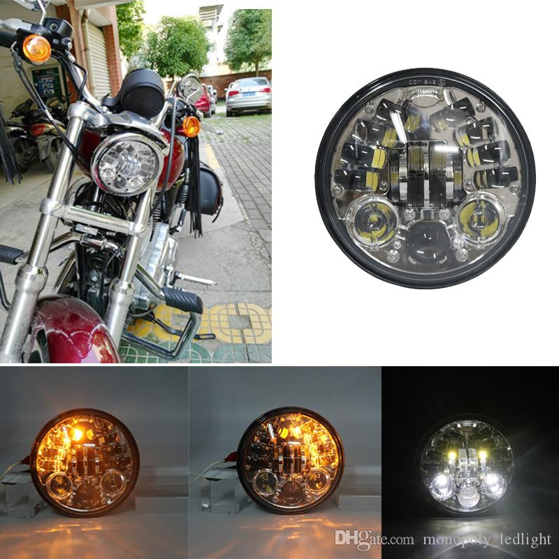 Projecteur LED chromé 5.75 pouces avec fonction de clignotant pour Night Road 883 750 48 72 Indian Scout