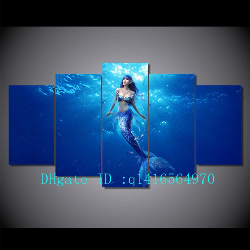 2018 Deep Sea Mermaid,Canvas Prints Wall Art Oil Painting Home Decor  /Unframed/Framed From Q1416564970, $15.38 | Dhgate.Com