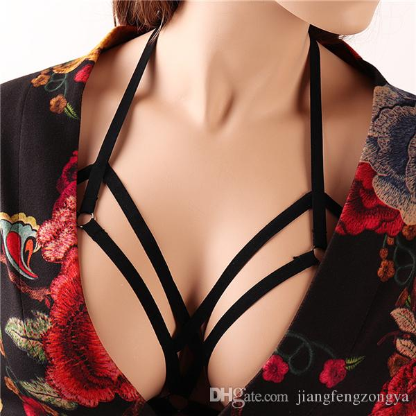 2019 Goth Punk Spike Harness Black Strappy Tops Cage Bra Sexy Bondage  Lingerie Body Belts Adjust Size Erotic Halter Bustier From Jiangfengzongya 4ddf7c8bf