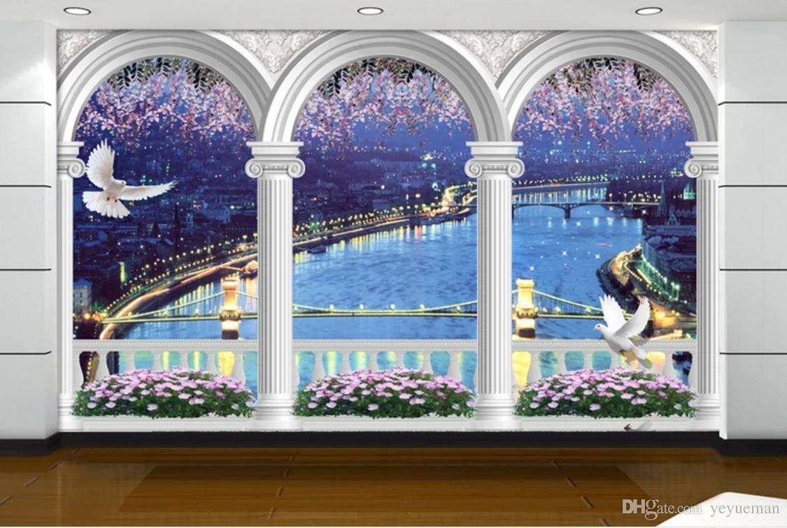 Papel tapiz personalizado para paredes 3 d Arcos paisaje Salón Dormitorio Fondo de pared Muros de pared 3d no tejidos