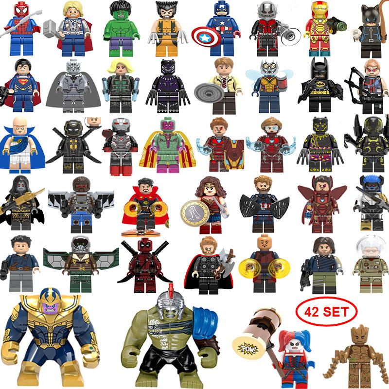 NEW super hero Mini Figures 42SET Thanos Big Hulk Wonder woman Deadpool Logan Black Panther Doctor Strange Building blocks kids gifts