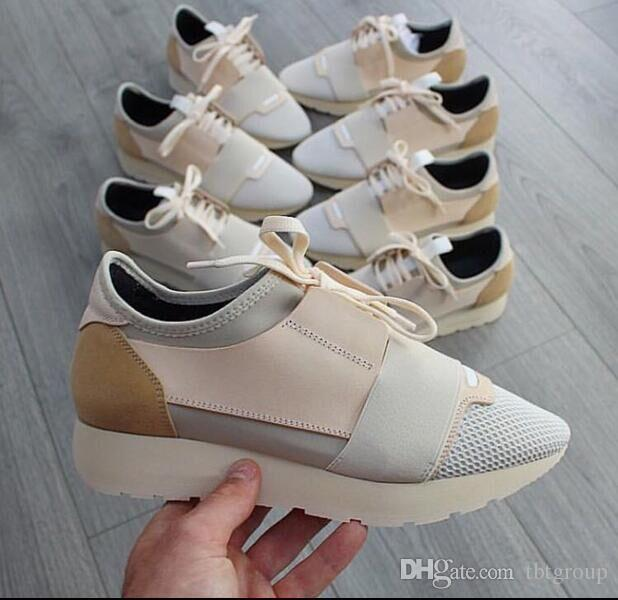 ced3884c7 New Luxury Brand Man Woman Designer Sneaker Genuine Leather Mesh Casual  Shoes Pointed Toe Runner Shoes Trainers With Box US5 11.5 Boat Shoes Shoes  For Men ...