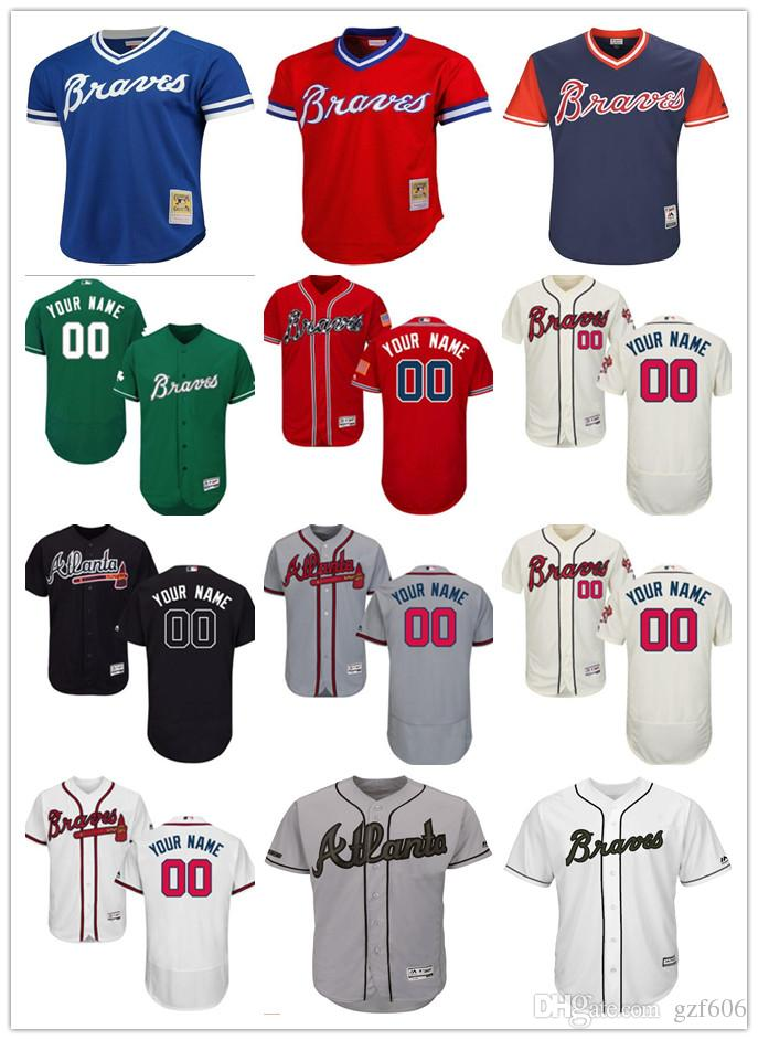 13ec74d13 Custom Men s Women Youth Majestic Atlanta Braves Jersey Personalized ...