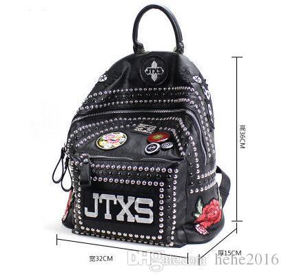 2018 New JTXS Tide Rivets Shoulder Bag Female Bag School Wind Students Wild  Backpack Personalized Handbags Back Packs Rolling Backpacks From Hehe2016 36e445aac0bf9