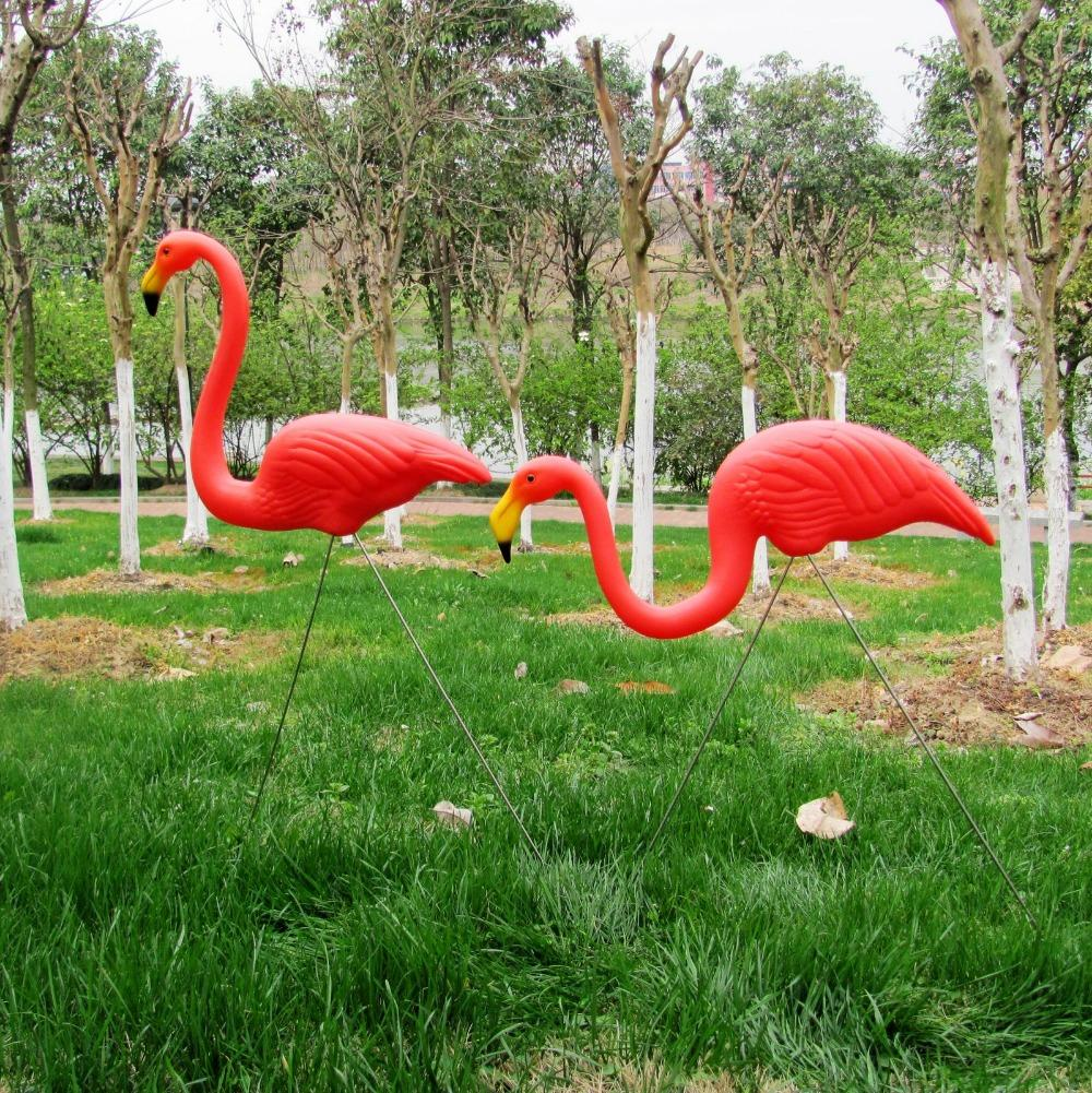 1pair Anguria di plastica Red Flamingo Garden Yard And Lawn Art Ornament Cerimonia di nozze Decorazione 31