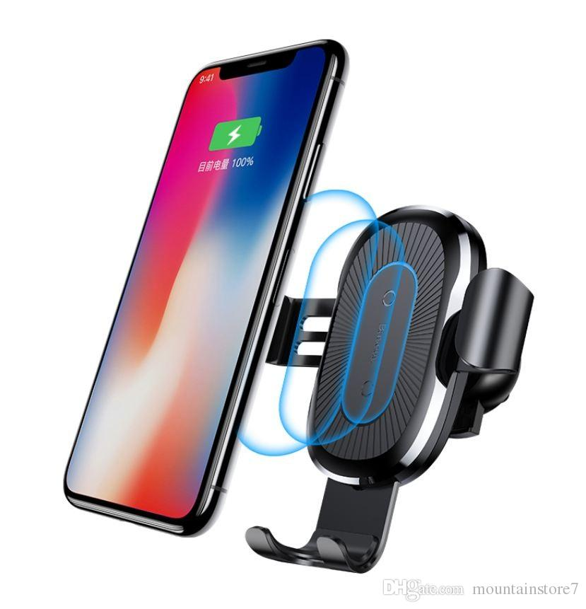 sports shoes 62da6 985d3 10W QI Wireless Charger Car Holder For iPhone X Plus Samsung S8 S9 Fast Car  Mount Wireless Charging Charger Phone Holder