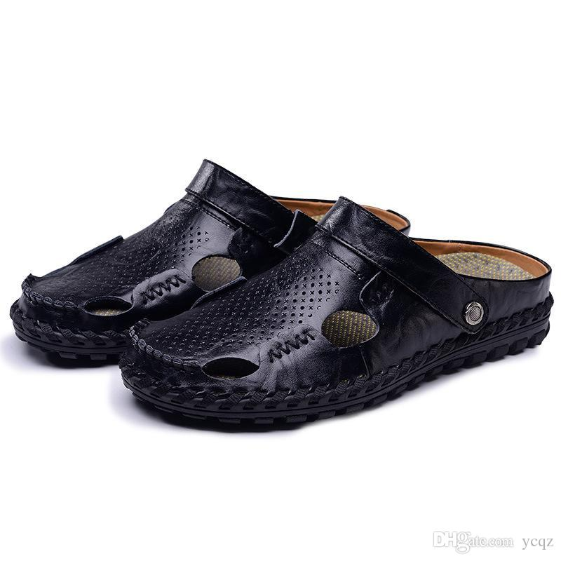 9b0f397108cef Hot 2018 Big Size Men s Sandals Summer British Fashion Man Genuine ...