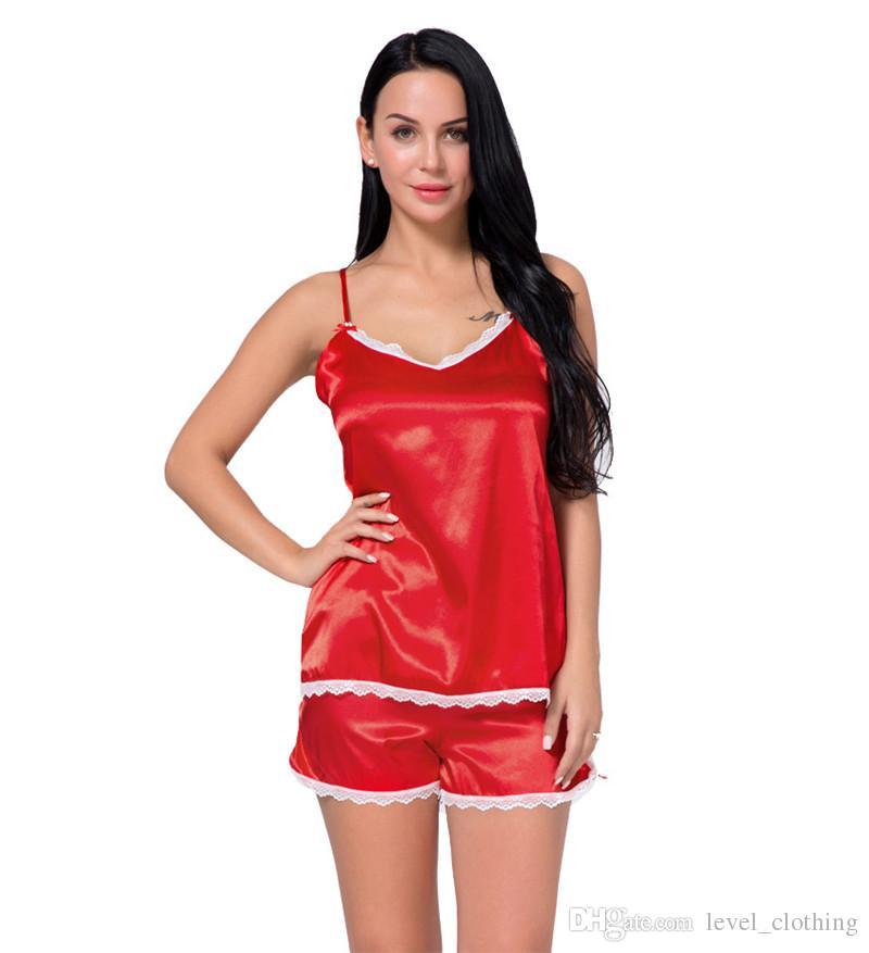 2018 Factory Direct Selling Lady Pajamas New Product Foreign Trade  Suspenders Sexy Sleepwear Two Piece OEM Silk Sexy Pajamas Pajamas Online  Disount Pajamas ... c3f2f74df