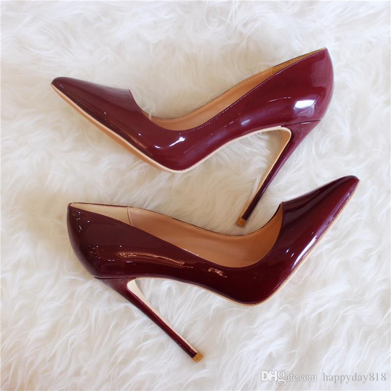 Fashion Women Pumps Vintage Burgundy Patent Leather Point Toe High Heels  Thin Heel Bride Wedding Shoes 12cm 10cm 8cm Bass Shoes Skechers Shoes From  ...