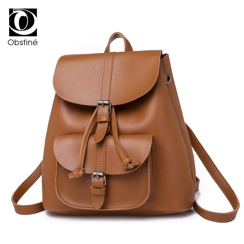 df1de01a31 Vintage Small Backpack Women PU Leather Cute Backpacks For Girls School  Bags Solid Drawstring Back Pack Brown Ladies Bagpack Toddler Backpacks Mens  ...