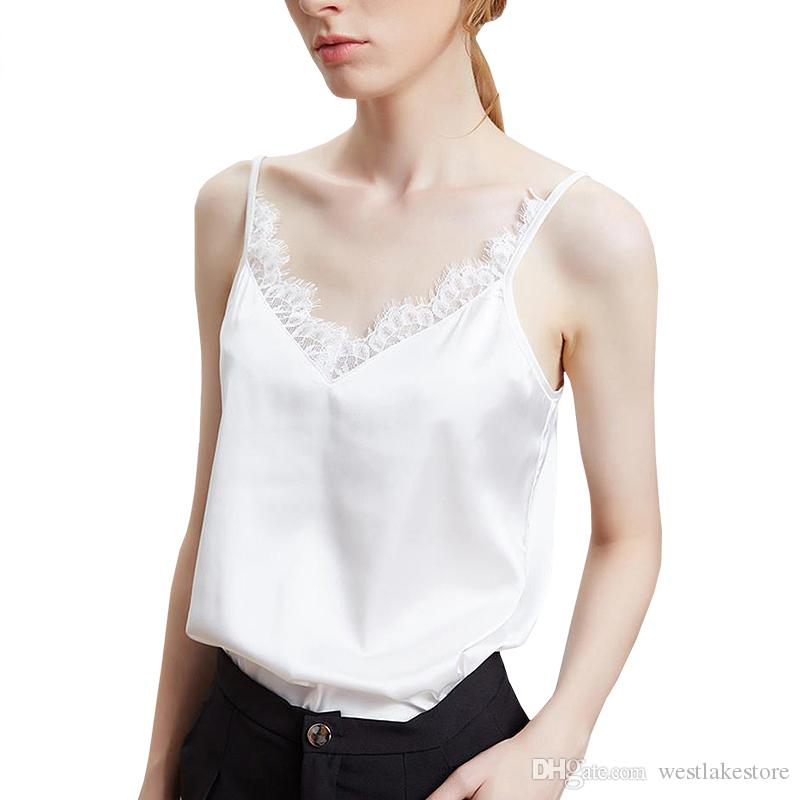 c1924364a2 Compre Laço De Cetim Regatas Mulheres Verão Sexy Sem Mangas Camisa Camis  Ladies Fitness Preto Branco Camisola Casual Feminina Tops De Westlakestore