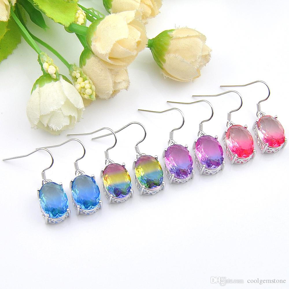Luckyshine Mix Color 4 pcs/lot 925 sterling silver small and exquisite Rainbow BI-COLORED Tourmaline Gemstone Silver Dangle Earrings Jewelry