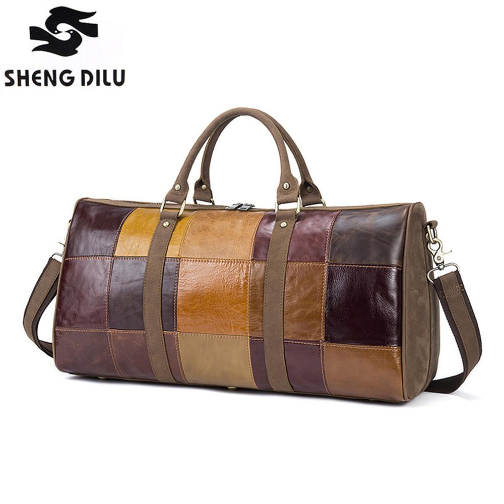 36031d7d8b Vintage Genuine Leather Duffle Bag For Men Leather Luggage Travel Bags Men S  Multi Purpose Large Travel Bag Handbag Top Quality Wheeled Duffle Bags  Carry ...