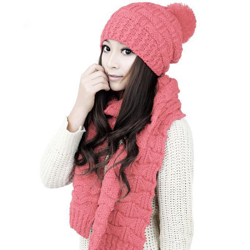 58bb4a107 Compre Conjunto De Gorro Y Bufanda De Invierno Para Mujer Crochet Trenzado  Grueso Tejido Sombrero De Punto Mujer Mujer Pompom Bonnet Gruesa Gorra De  Esquí ...