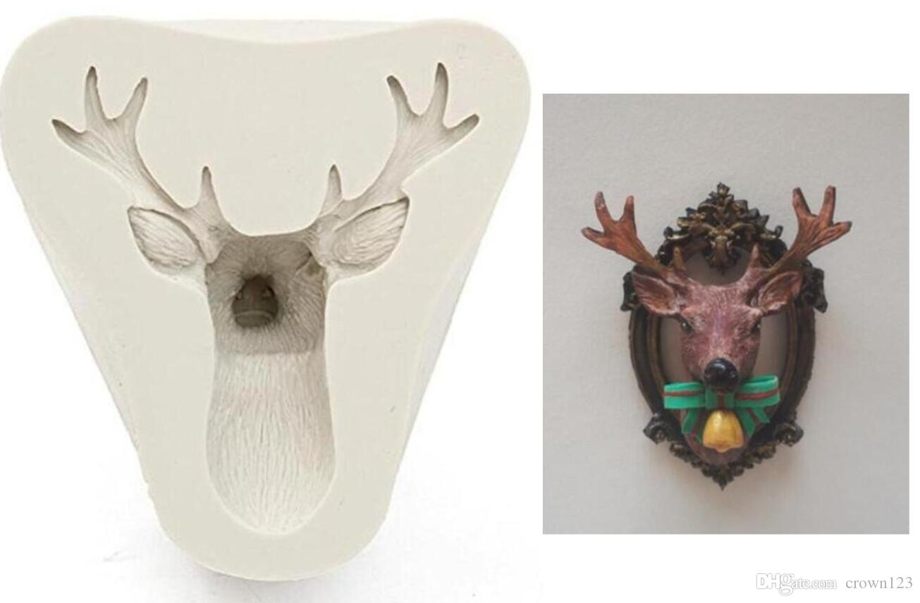 super 3D Stag Head Fondant Mold - Christmas Deer Elk Chocolate Clay  Silicone Mould Cupcake Cake Decorating Tool