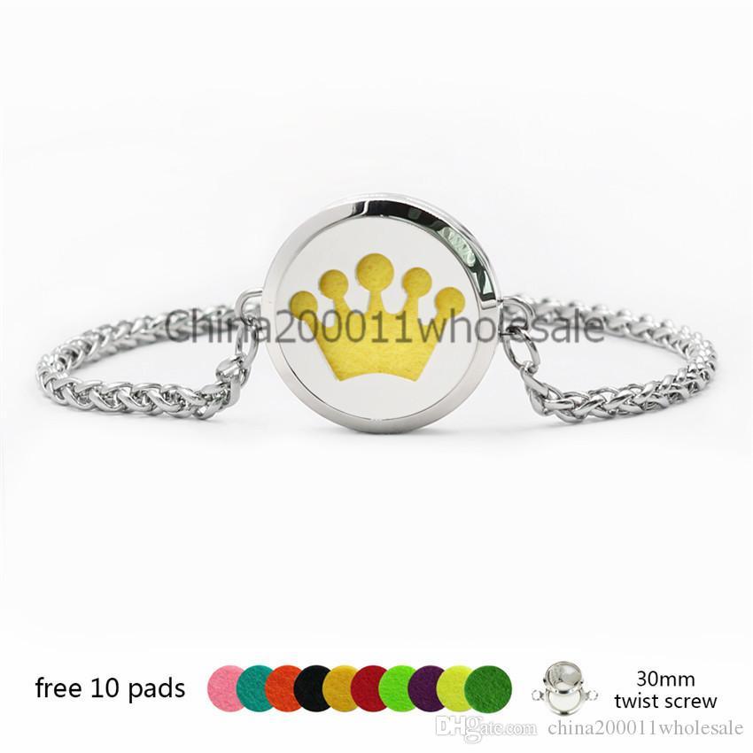 Corona Fiore 30mm Twist Vite In Acciaio Inox Olio Essenziale Locket Profumo Diffusore Bracciali Le Donne 10 pz Pastiglie Casuali