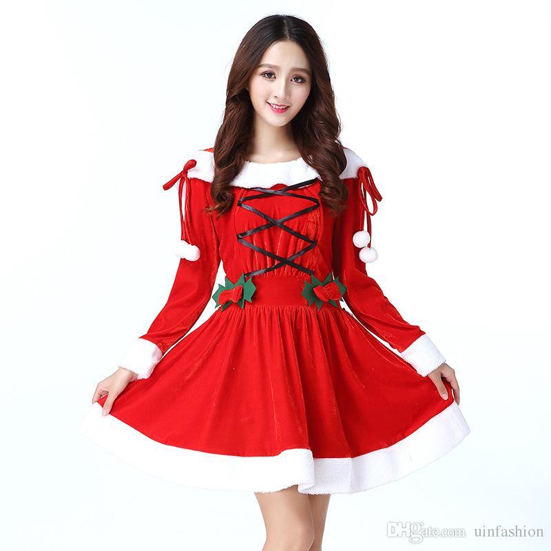 05be60d2ac Compre Trajes De Natal Sexy Festa De Papai Noel Mulheres Adultas Traje  Carnaval Fantasia Fancy Dress Cosplay Trajes Chapéus De Uinfashion