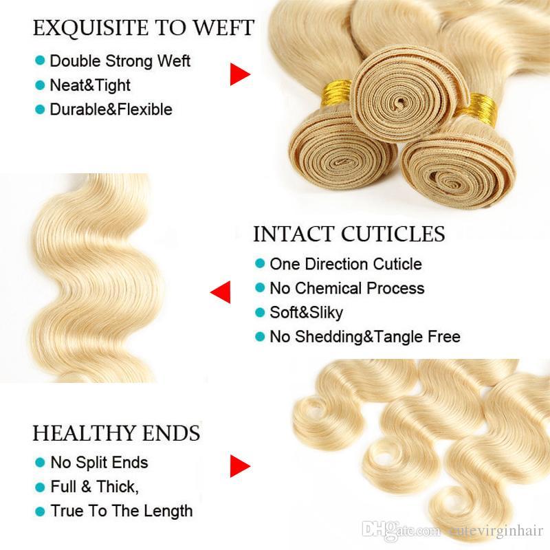Brezilyalı manikür hizalanmış ham bakire saç 613 sarışın insan saç demetleri kapatma # 6131b / 613 düz vücut dalga 4x4 dantel kapatma