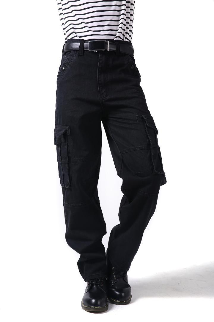 7997ac62 2019 Plus Size Relaxed Baggy Jeans Mens Cargo Jeans With Cargo Pocket Denim  Black Loose Straight Leg For Men 30 46 From Bigseaa, $67.92 | DHgate.Com