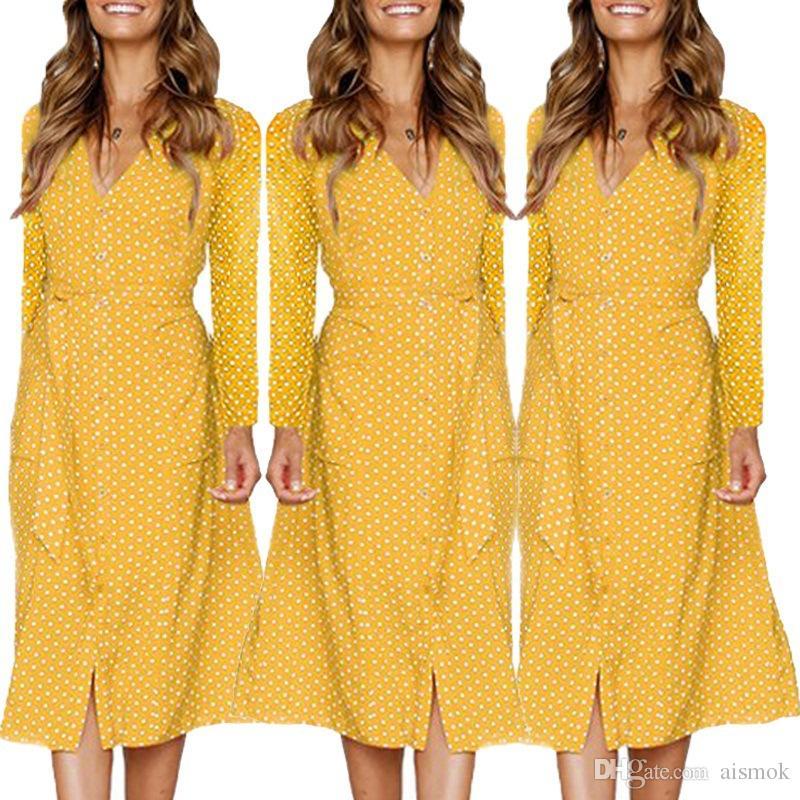 913181916e30 Acquista Vestito Casual A Maniche Lunghe A Pois Donna Elegante Vestito  Button Down A Righe Con Cintura i A  20.1 Dal Aismok
