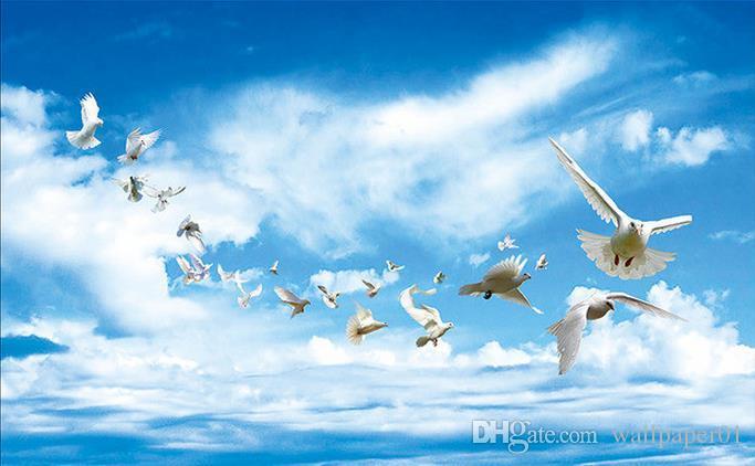 Papel Tapiz 3d Decoracion Mural Foto De Fondo Hd Sonador Cielo Azul Y Nubes Blancas Volando Paloma Techo Cenit Mural Decorativo Salon