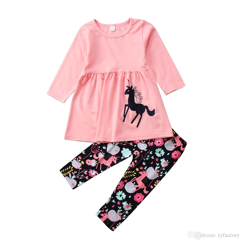 c7dc378bbe78c Autumn Spring Unicorn Kids Baby Girls Outfits Clothes Pink T-shirt Tops  Dress Long Pants 2PCS Set Flower Long Sleeve Kid Clothing set