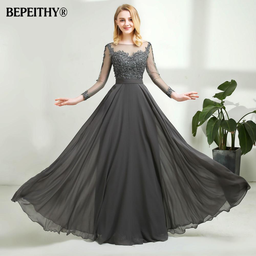 Vestido De Festa Gray Chiffon Long Evening Dress Sexy Open Back Full Sleeves  Lace Prom Dresses Vestido Longo 2018 Womens Gowns 1940s Evening Dresses  From ... f596c17f18a7