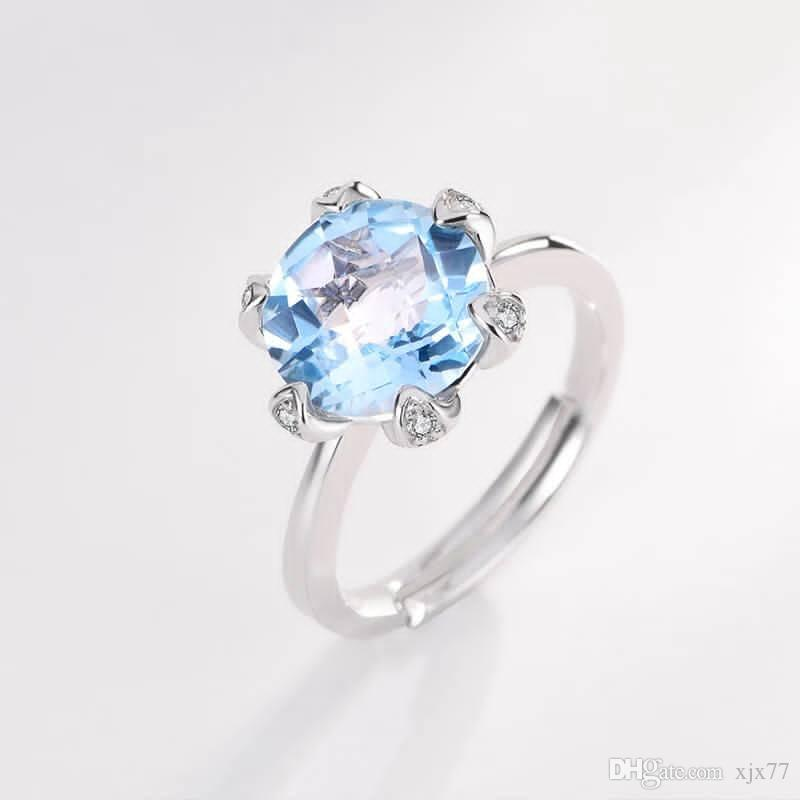 176549a2312 Pink Crystal Ring Sterling Silver Index Finger Open Ring Female Hibiscus  Stone Korean Personality Simple Fashion Accessories.