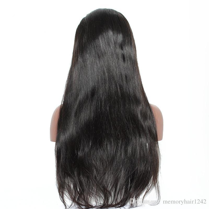 Doğal Renk Tam Dantel Staight Bebek Saç Ücretsiz Nakliye Malezya Peruk İnsan Saç Brezilyalı Remy Vrigin Peruk 130% Yoğunluk İsviçre Dantel
