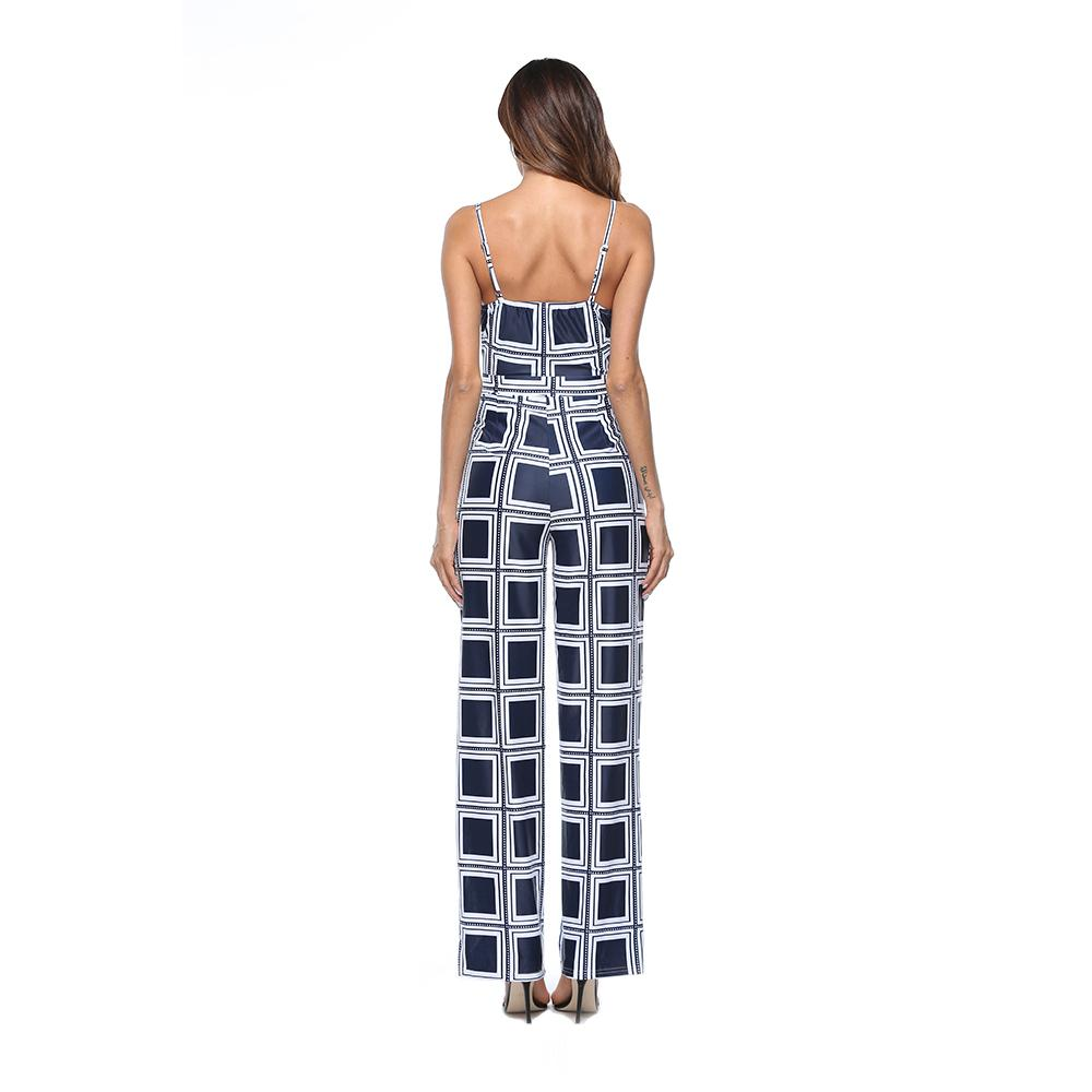 New Women's clothing Sexy Jumpsuits Bra Strapless Halter printing Harness Rompers Slim Casual Jumpsuits trousers A2110