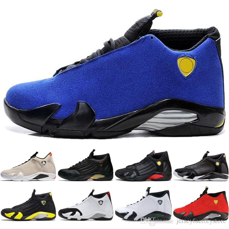 online store 20f33 81238 2018 Hot 14 14s mens Basketball Shoes Desert Sand DMP Last Shot Indiglo  Thunder Blue Suede Oxidized Grey White mens Sports Sneakers designer