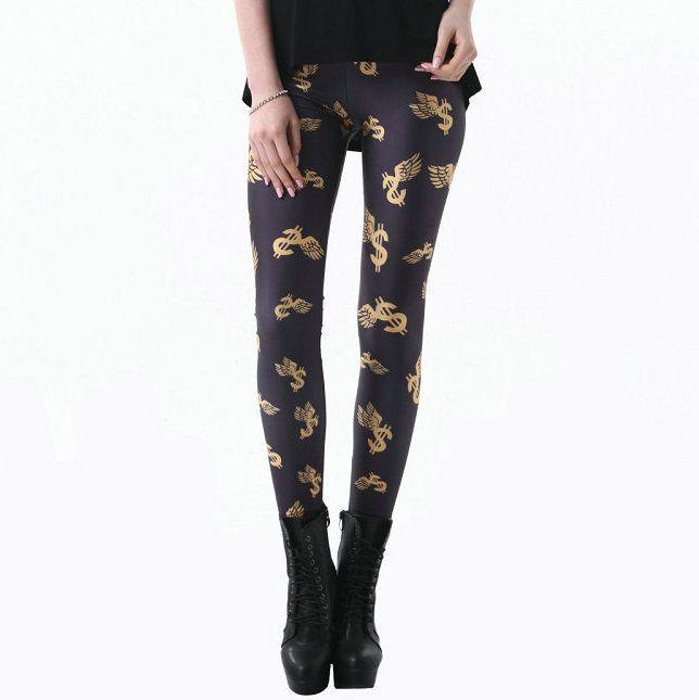 673579e4b348 Dólar estadounidense pantalones Dinero símbolo ala imprimir ajustados  flacos Negro leche mujeres ropa de gimnasia Ropa deportiva Fitness  sportwear ...