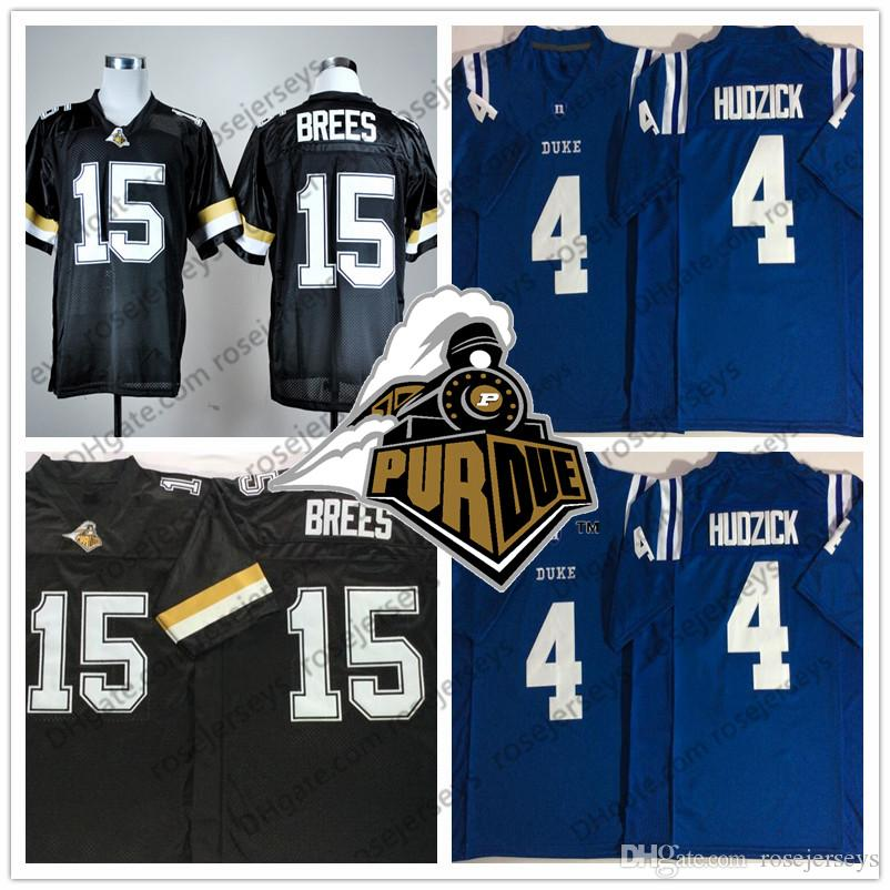 new york b4d7b 72576 NCAA Purdue Boilermakers #15 Drew Brees Vintage Jersey Duke Blue Devils #4  Myles Hudzick #9 Brees Lights Out Black 2018 White Rush S-3XL
