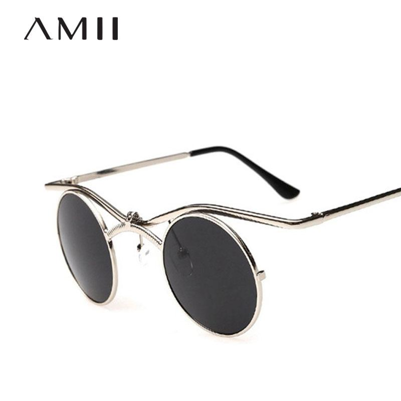 8dca171ee5 AMII New Vintage Round Sunglasses Men Women Metal Frame Gothic ...